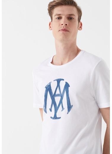 Mavi Mavi Logo Baskılı  Tişört Beyaz